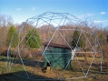 24 foot Geodesic Chicken Shelter before installing wire.