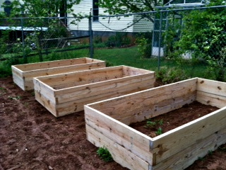 3 double high 4'x8' beds