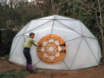 Geodesic Dome Greenhouse with custom door.