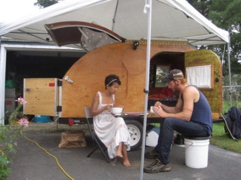 Cake and Nathan on the road with The Teardrop Camper.