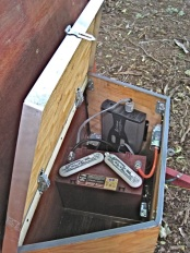 A solar charged deep cycle battery provided power for the trailer.