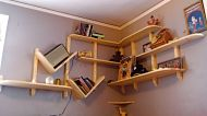 Corner unit w/diagonal book holders.