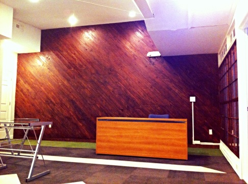 Diagonal Wood Feature Wall